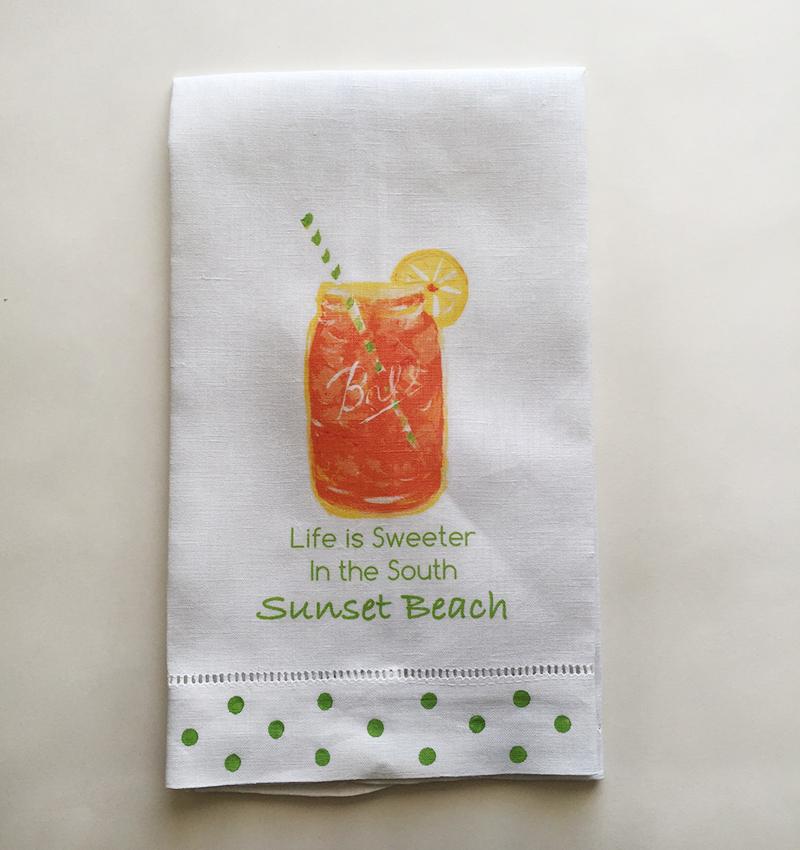 Mermaid Guest Towels: Sunset Beach Linen Guest Towels