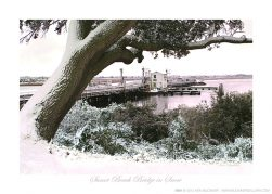 Sunset Beach Bridge in Snow Ken Buckner