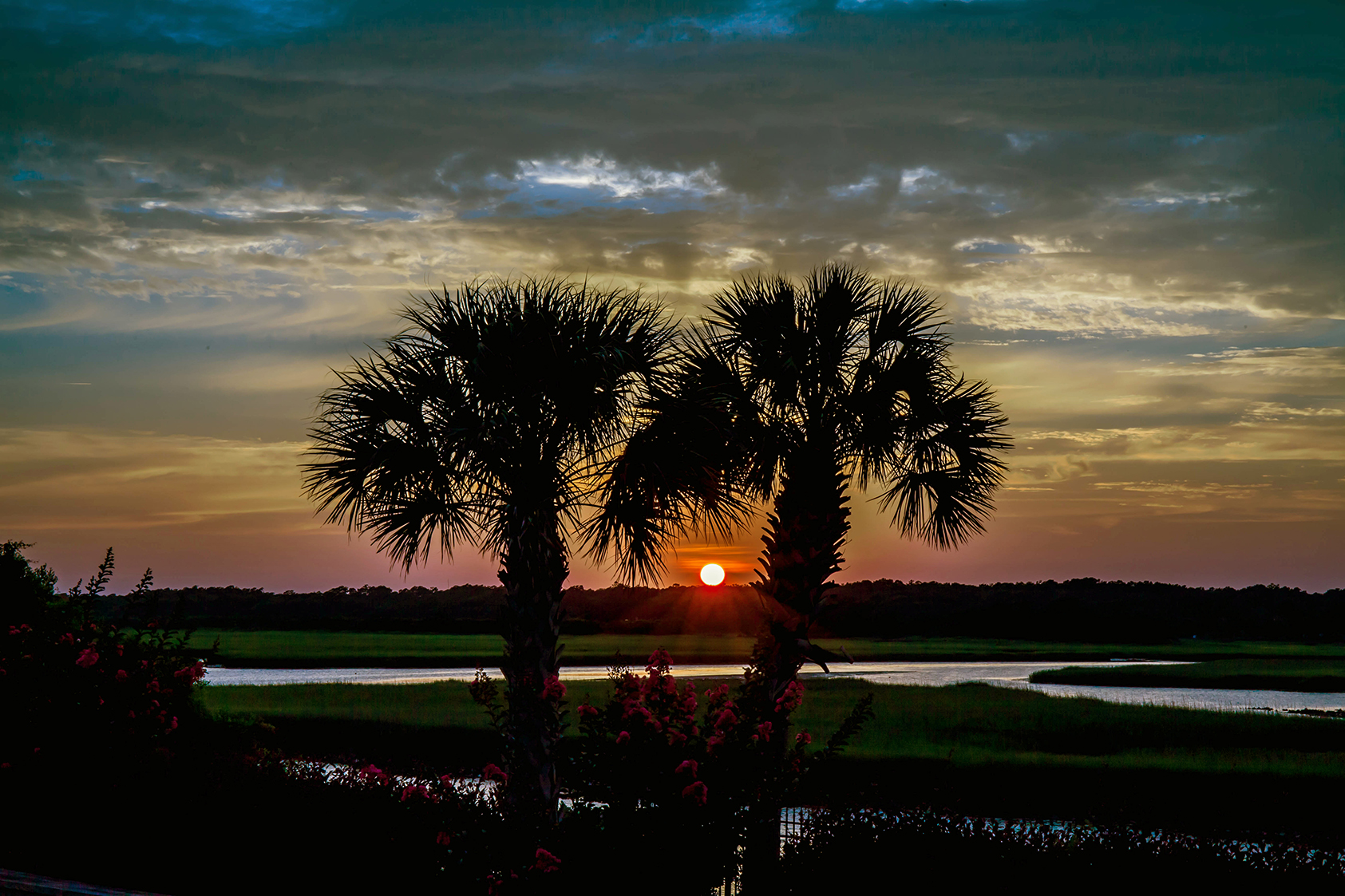 Palm Sunset Ocean Isle Beach Photo by Dwayne Schmidt