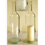Wine Bottle Glass Candle Lantern Etched with Sea Shell