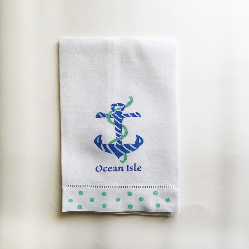 Linen Blue Anchor Towel Ocean Isle Beach
