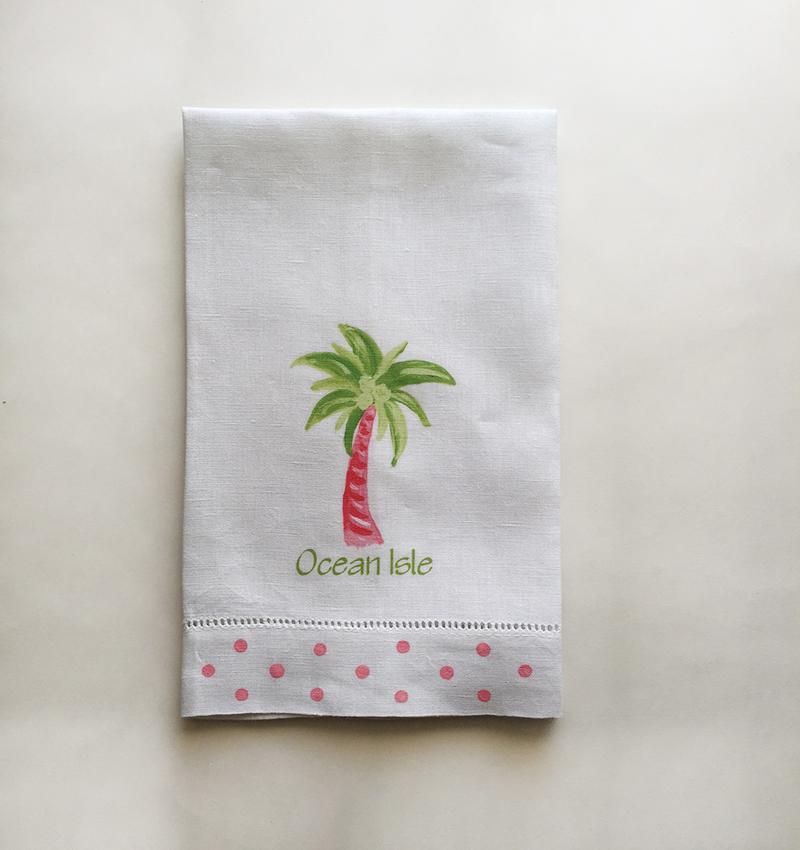 Green Palm Tree Towel Ocean Isle Beach