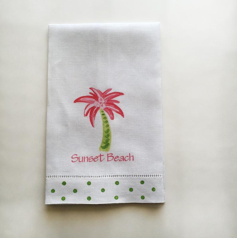 Pink Palm Tree Towel Sunset Beach