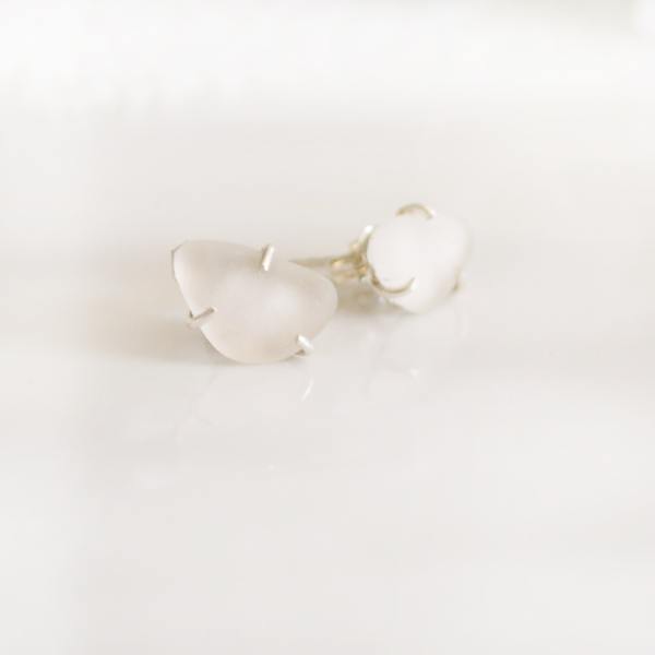 white-sea-glass-stud-earrings