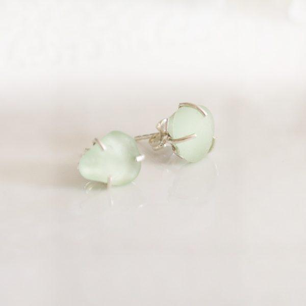 Sea Glass Earring Studs Sea Foam Jewelry
