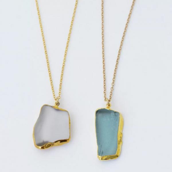 Golden Edge Sea Glass Necklace