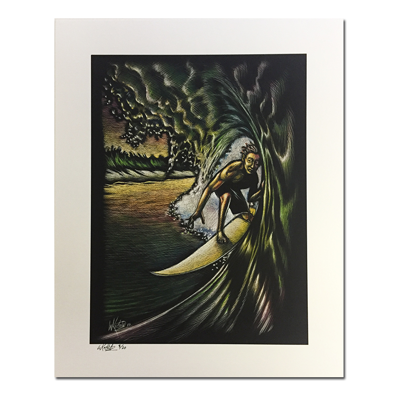 Surfer in Tube Scratch Print by Keith White