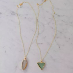 Golden Edge Sea Glass Necklaces