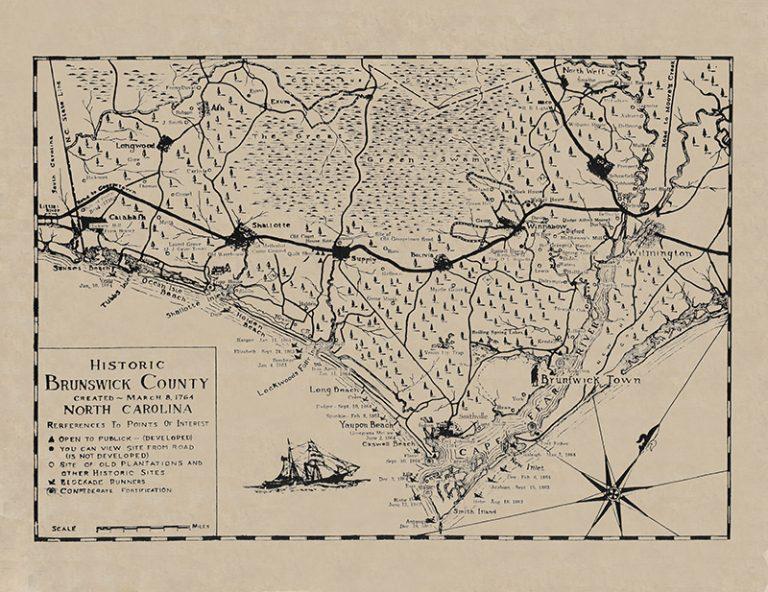 NC Coast Brunswick Historical Map