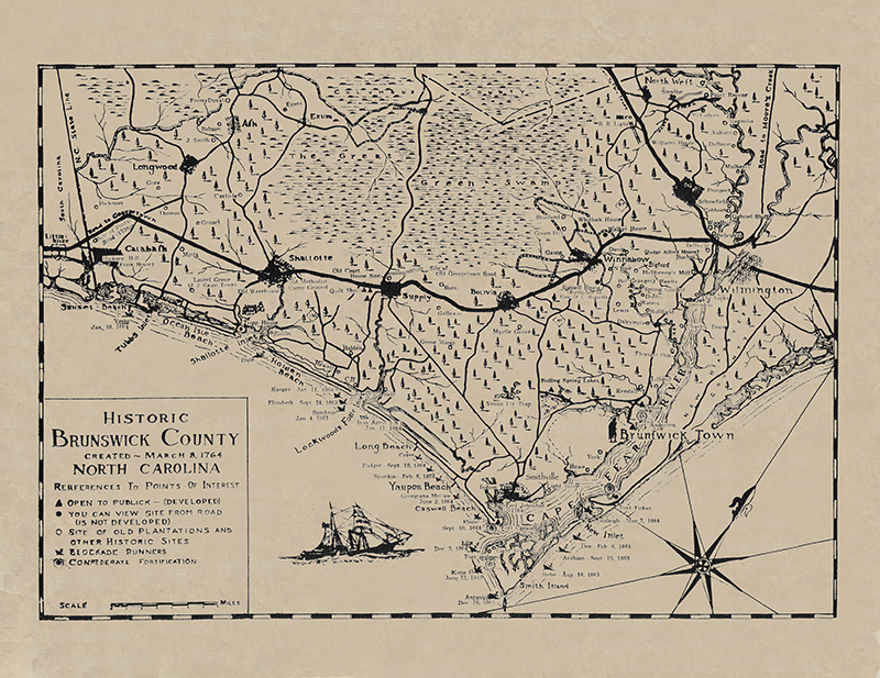 NC Coast Brunswick Historical Map