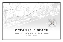 Ocean Isle Beach Map Print