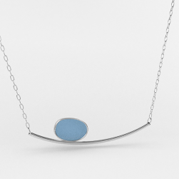 Sea Glass Horizon Necklace Heather Blue