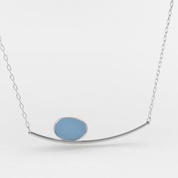 Sea Glass Horizon Necklace Heather Blue