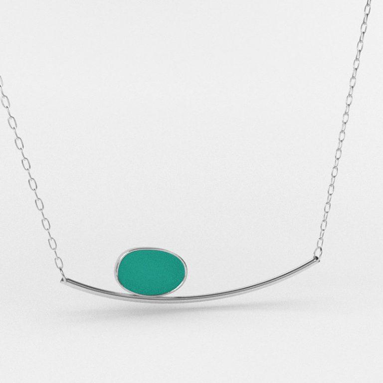 Sea Glass Horizon Necklace Tropical Aqua