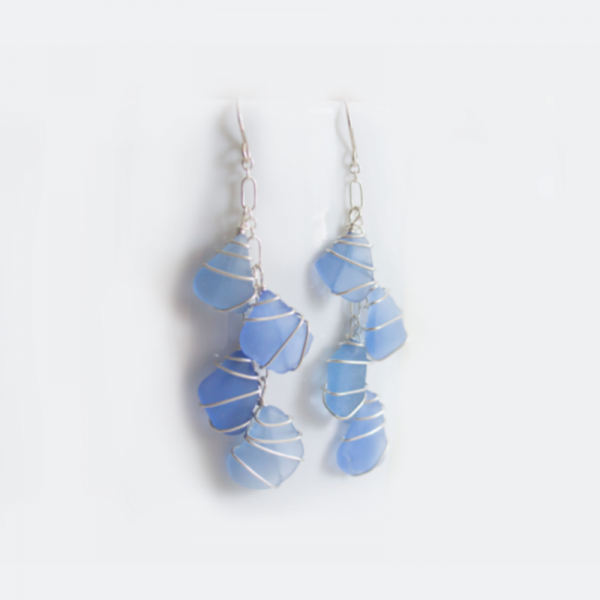 Sea Glass Multi-Stone Earrings Cornflower
