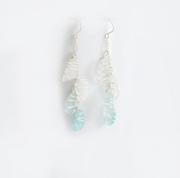 Sea Glass Multi-Stone Earrings Cobalt and Cornflower